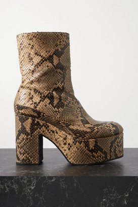 Dries Van Noten Snake-effect Leather Platform Ankle Boots - Beige