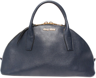 Miu Miu Navy Leather Boston Bag