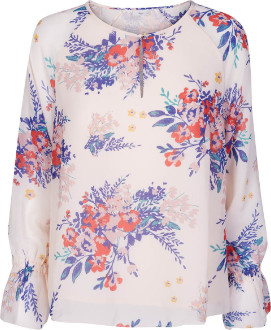 Minimum Betzy Print Scallop Edge Blouse - 34 (8) - White/Red/Blue