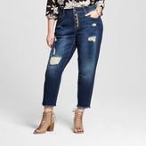Dollhouse Women's Plus Size Destructed 4-Button Skinny Jean Blue Juniors')