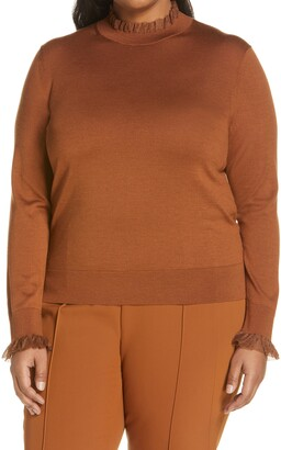 Lafayette 148 New York Ruffle Trim Sweater