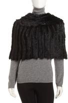 Jocelyn Crochet-Rabbit Fur Capelet, Black
