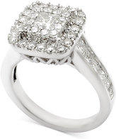 Macy's Diamond Square Cluster Engagement Ring (2 ct. t.w.) in 14k White Gold