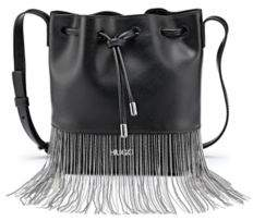 HUGO Drawstring bucket bag in Italian leather with ball-chain fringing