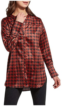 Lysse Allegra Printed Top in Stretch Satin (Abstract Houndstooth) Women's Clothing