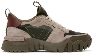 Valentino Khaki and Pink Garavani Camo Rockrunner Sneakers