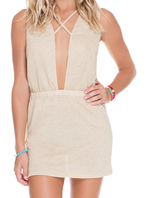 Luli Fama Criss Cross Plunge Dress In Gold Rush (L529862)
