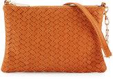 Neiman Marcus Woven Faux-Leather Crossbody Bag, Cognac