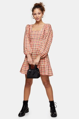 Topshop Multi Textured Check Mini Dress