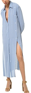 MICHAEL Michael Kors Striped Slashed Silk Shirt Dress