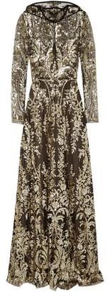 Naeem Khan Velvet-trimmed Sequined Tulle Hooded Gown