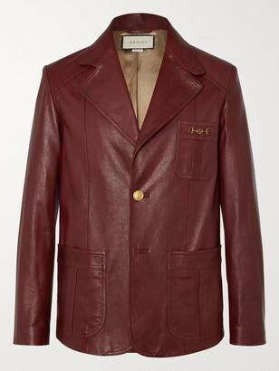 Gucci Slim-Fit Horsebit Leather Blazer