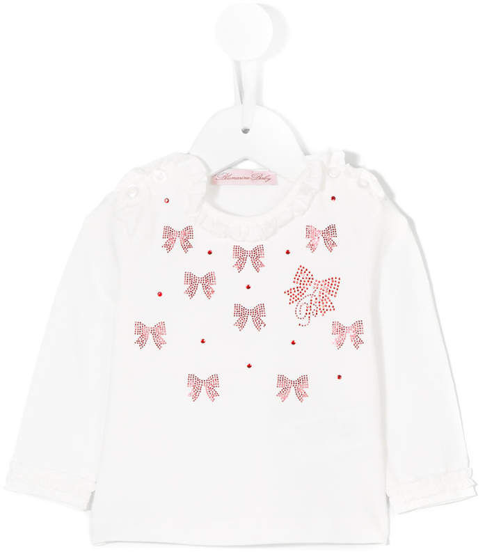 Miss Blumarine long sleeve appliqué T-shirt