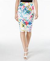 Thalia Sodi Watercolor-Print Pencil Skirt, Only at Macy's