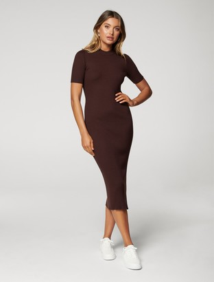 Forever New Yazmin Rib Tee Midi Knit Dress - Chocolate - 10
