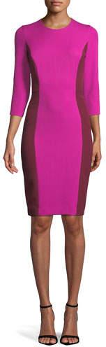 Milly Jewel-Neck 3/4-Sleeve Colorblock Scuba Dress