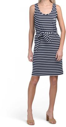 Striped Knit Dress With Self Tie