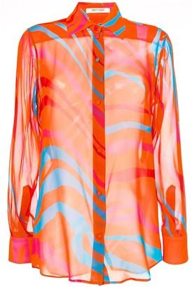 Roberto Cavalli Tiger Print Sheer Shirt