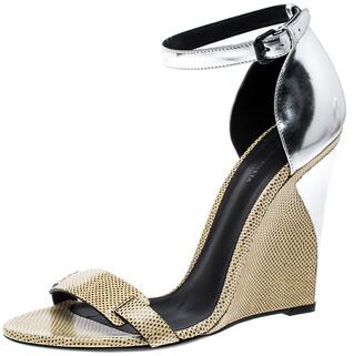 Bottega Veneta Bottge Veneta Cream/Silver Lizard and Leather Wedge Sandals Size 40