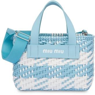 Miu Miu Woven Gingham Check Tote Bag
