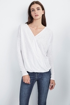 Chantal Sheer Textured Knit Wrap Tee