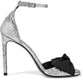 Saint Laurent Jane Bow-embellished Glittered Satin Sandals - Silver