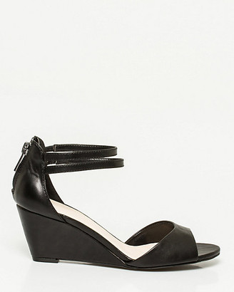 Le Château Faux Leather Open Toe Wedge