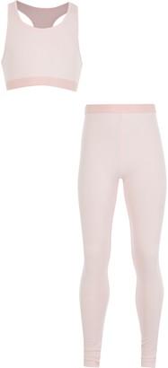 River Island Girls Pink crop top loungewear set