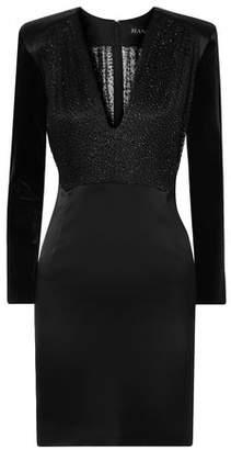 HANEY Stam Fil Coupe Mesh, Velvet And Satin Mini Dress