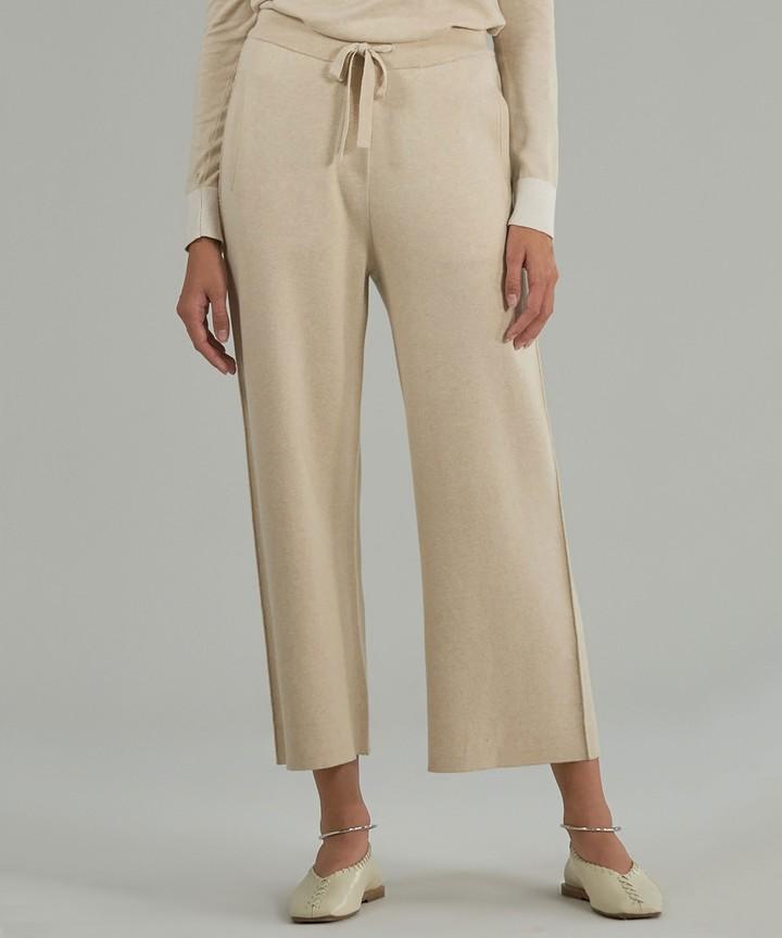 ATM Cashmere Blend Sweater Pants - Sandstone/ Chalk Combo