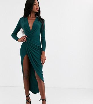 John Zack Tall wrap front maxi dress in emerald green
