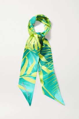 Versace Printed Silk-twill Scarf - Green