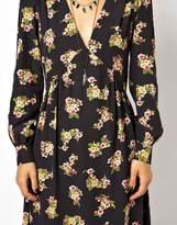 Asos Smock Dress With V-neck In Floral Print