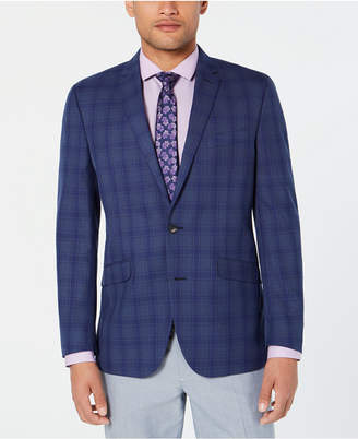 Kenneth Cole Reaction Men Slim-Fit Blue/Gray Plaid Sport Coat