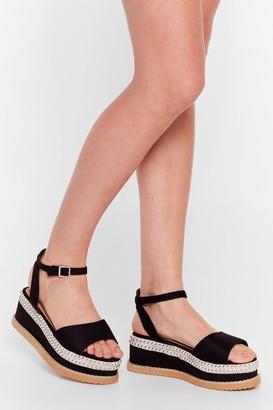 Nasty Gal Womens We Stud Get Going Faux Suede Platform Sandals - Black - 5, Black