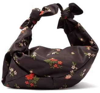 Simone Rocha Wrap Large Floral-print Shoulder Bag - Womens - Black Multi