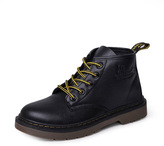 Romwe Round Toe PU Lace Up Ankle Boots