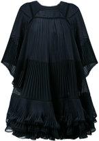 Chloé plisse pleat ruffled trapeze dress