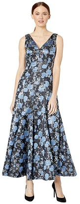 Adrianna Papell Jacquard Midi Dress with Godets (Blue Multi) Women's Dress