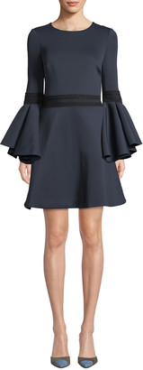 Badgley Mischka Oversized Trumpet-Sleeve Mini Dress