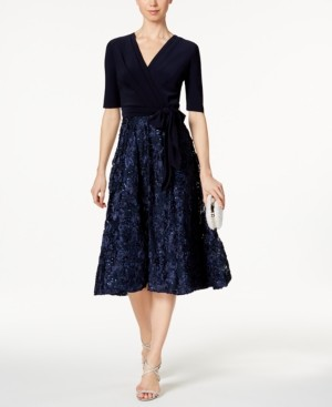 Alex Evenings Petite Rosette-Skirt Fit & Flare Dress