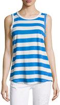 Current/Elliott Split-Back Muscle Tee Tank, Blue Boating Stripe