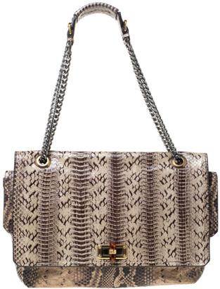 Lanvin Beige Python Embossed Leather Happy Chain Shoulder Bag