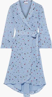 Ganni The Alex Floral-print Chiffon Wrap Dress