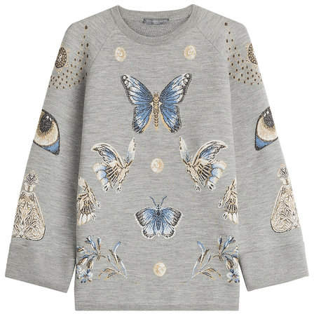 Alexander McQueen Printed Sweatshirt with Wool and Silk