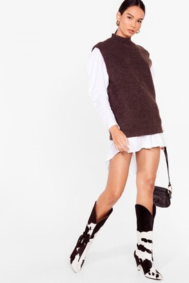 Nasty Gal Womens All Tanks to You Knitted High Neck Tank Top - Chocolate