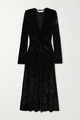 Rotate by Birger Christensen Lily Gathered Studded Stretch-velvet Midi Dress - Black