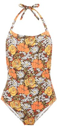 Solid & Striped X Re/Done Woodstock Floral-print Swimsuit - Womens - Orange Print
