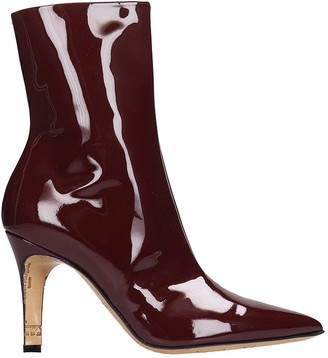 Maison Margiela High Heels Ankle Boots In Bordeaux Patent Leather