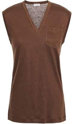 Brunello Cucinelli Bead-embellished Linen And Silk-blend Top